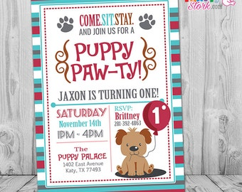 Puppy Birthday Invitation, Puppy Invitation, First Birthday Invitation Boy, Puppy Party Invitation, 1st Birthday Invitation Boy