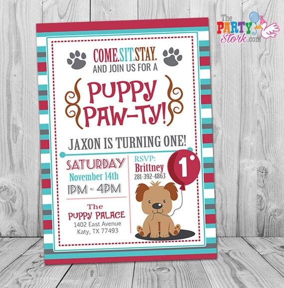 puppy birthday invitation, puppy invitation, first birthday, Party invitations