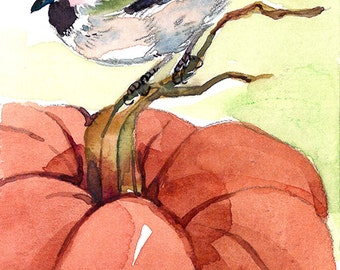 ACEO Limited Edition 2/25-Pumpkin perch, Chickadee,Gift for bird lovers, Thanksgiving day gift idea, Bird art print of watercolor painting