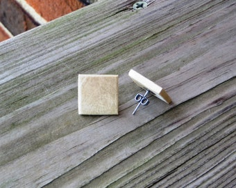 Square Wood Stud Earrings Handmade White Holly Wood Stud Earrings w/ Titanium Posts
