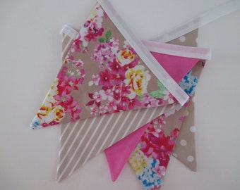 the audrey - pink, taupe, spot, stripe floral, flowers, peony, rose, girl, fabric bunting flag banner