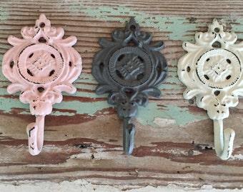 Decorative Hook / Gray Pink White / Home Organization /  Set of 3 Wall Hooks  / Key Hook /Nursery Decor / Shabby Chic /