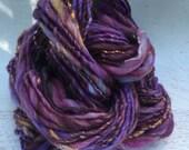RESERVED for cleece31 SALE! Handspun art yarn bulky merino wool mulberry silk angelina knitting weaving felting