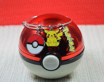 Pokemon Bracelet.....Pikachu Bangle....Expandable Silver Plated Bangle....Pokemon Pikachu Jewelry...Choice of Child Size to Adult Large