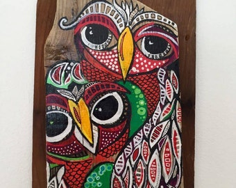"""Paint on Driftwood / """"The Darlings"""" 13.5"""" X 8.25"""""""