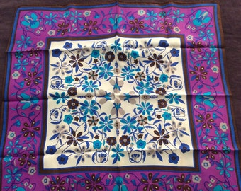 Sale Vintage Scarf Made in Japan Square Retro Accessories Purple