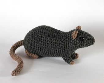 Gray rat crocheted toy