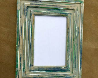 Blue & Green Distressed Frame (3.5x5.5)