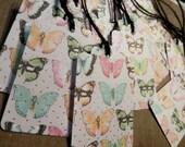 TAGS set/12 LOVELY BUTTERFLIES pink peach aqua green Metallic Gold Dots