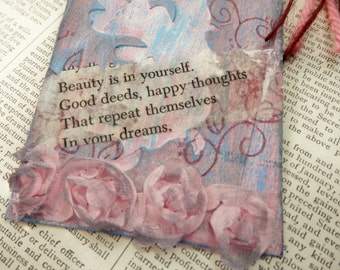 "ART/JOURNAL/INSPIRATION Tag - Collage with Book Text Snippet - ""Beauty......in Your Dreams""  One-of-a-Kind"