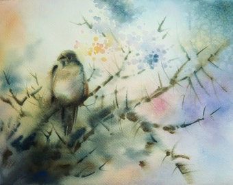 "ORIGINAL Watercolor Painting Common Finch 12"" x 9"" Unframed"