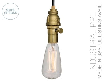Industrial Pipe Pendant Light- Brass