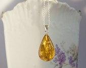 SALE Sterling silver necklace with natural Baltic amber, yellow-green Baltic amber pendant, teardrop shape golden amber with inclusions
