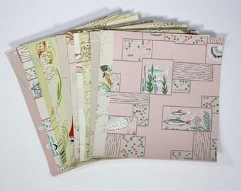 Vintage Wallpaper Collage Pack, 12 Precut Sheets of Assorted Vintage Wallpaper Samples and Scraps, Bathroom Wallpaper