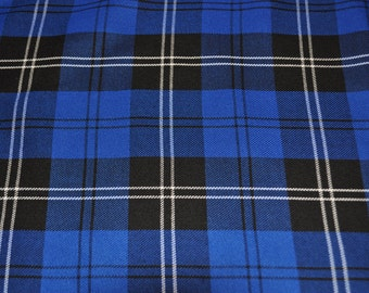 Blue Ramsay Tartan Fabric. Soft Poly viscose. Machine Washable.  Price per half metre.