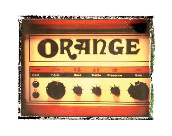 Orange guitar amp  art print / music gift / rock n roll art / music room decor / guitar gift / man cave art