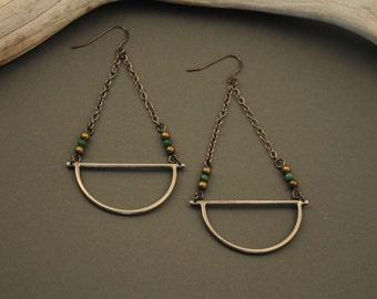 Amulet earrings- sterling silver with turquoise and gunmetal