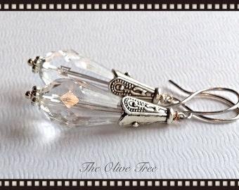 Faceted Swarovski Crystal Earrings -  Wedding Earrings - Zen Earrings - Bohemian Earrings - Hippie Earrings - Gypsy Earrings