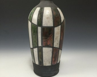 Small Raku Vase - Checkerboard - Homemade Pottery - Home Decor
