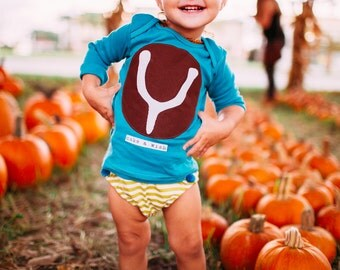 "Swanky Shank Baby ""Wish Bone"" Bodysuit; Hand dyed and Hand stamped; Thanksgiving Shirt, Baby Thanksgiving shirt; Baby neutral Thanksgiving"