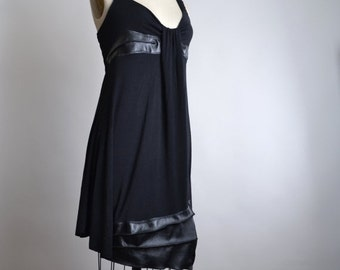 ON SALE Black Rayon and Leather Dress - Summer Black Dress - Rayon and Leather Dress - Dark Fashion