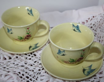 Pair Butterfly Garden Cups and Saucers Yellow with Butterflies and Flowers Lovely