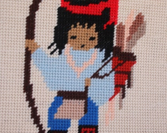 Needlepoint Indian Child Native American Child Unframed Vintage Needlepoint Indian w Bow and Arrow