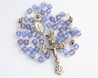 Light Purple Blue Rossary Necklace, Cathedral Czech Glass Rosary, Traditional 5 Decade Catholic Rosary
