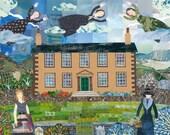 Haworth Parsonage Greeting Card, Brontë Sisters, Sylvia Plath, Virginia Woolf, English Literature, Naive Art, Illustration, Art Card,
