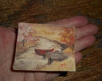 "Painting, Miniature, Original, 2""x2.5"", Doll House, Boat, Landscape, Rustic, Vintage"