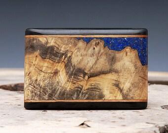 Exotic Wood & Lapis Inlaid Belt Buckle - Handmade