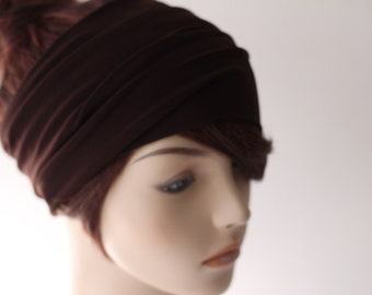Dark Mahogany Brown Turban Head Wrap, Wide Hair Band, Women's Yoga Wrap, Turband, Stretch Headband, Hair Accessories, Gifts for Her