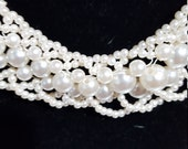 Beaded Pearl Collar Necklace, Vintage