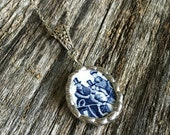 Broken China Necklace Pendant Blue
