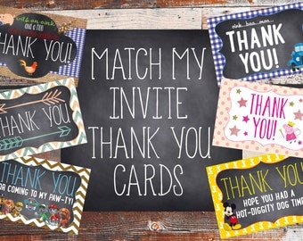 Thank you Cards (Match My Invitation) Birthday Party. Birthday Party Thank you Cards.