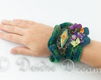 Woodland Green Wrist Cuff, Boho Bracelet, Flower Bracelet, Eco Friendly Bracelet, Crochet Bracelet, Flower Wrist Corsage, Floral Jewelry
