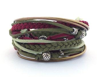 Olive Marsala Men's Bohemian Bracelet, Dark Green Maroon Wrap Hippie Bracelet, Men's Leather Bracelet, Mens Jewelry, gift for him, boho