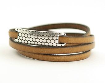 Brown Men's Leather Wrap Bracelet, Peanut Boho Men's Bracelet, Stainless Steel Leather Mens Bracelet, magnetic clsp, gift for him