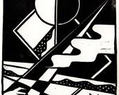 Mystery Linoleum Print unframed