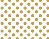 2 yards Riley Blake Fabric -Sparkle Gold Medium Dot