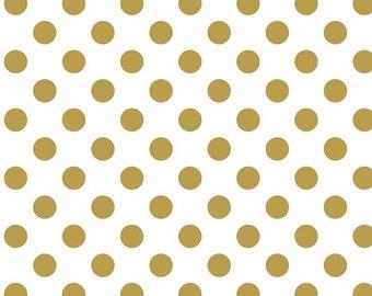 Riley Blake Fabric -Sparkle Gold Medium Dot 1 yard