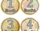 ON SALE Baby Monthly Milestone Growth Stickers Vintage World Maps Travel Nursery Theme MS566 Baby Boy Girl Shower Gift Baby Photo Prop