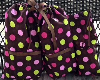 Shoe Pants Travel Shoe Bag, Polka Dot Shoe Bag, Separated Shoe Bag, Drawstring Gift Bag