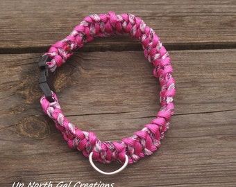 Paracord Dog Collar, Pink Dog Collar, Pink Camo Pet Supplies, Cat Collar,Goat Collar,Animal Collar,Michigan Made,Yooper,Free Shipping to USA