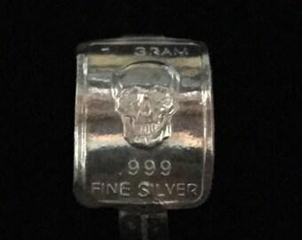 Silver ingot ring (skull design)