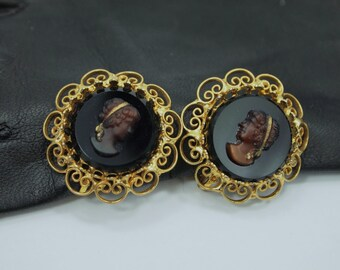 """Vintage Cameo Earrings - Clip On with Screw Adjustment - Molded Glass Cameos - Gold Metal Filigree Frames - Non Pierced Earrings - 5  1/8"""""""