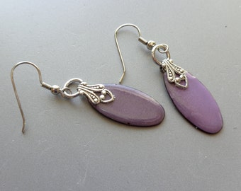 Purple torch fired enamel earrings with filigree detail