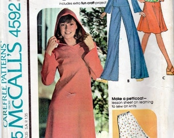 "Easy 1970s Women's Hooded Top or Dress, Skirt, Petticoat & Pants Pattern - Size 10, Bust 32 1/2"" - McCall's 4592"