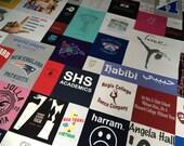 Custom t-shirt quilt for Roxanne:  QUEEN