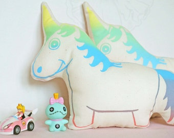 Magical Unicorn plush, hand screen printed in rainbow effect pastel colors